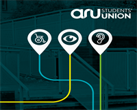 ARUaccessible logo with three accessibility icons and the ARU Students' Union logo above it