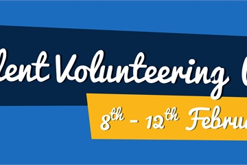 """Student Volunteering Week 8th - 12th February"" On blue background with green and yellow f"