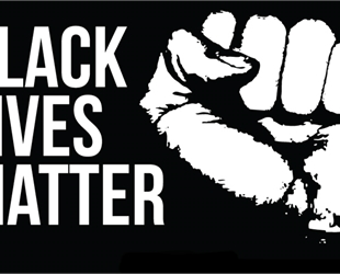 Black Lives Matter written in white on a black background with a white fist.