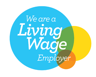 "Cambridge City Council's ""We are a Living Wage Employer"" logo."