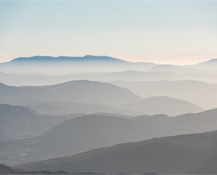 misty mountain range