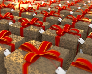 rows of gold presents with red ribbons