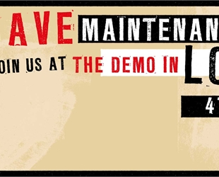 "Banner with red silouetted person holding a megaphone: "" save maintenance grants! Join us at th"