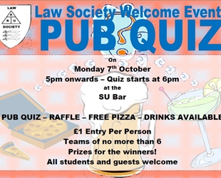 Welcome Event Pub Quiz and Raffle - 7th October